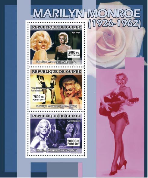 CINEMA: Marilyn Monroe 3v - Issue of Guinée postage stamps