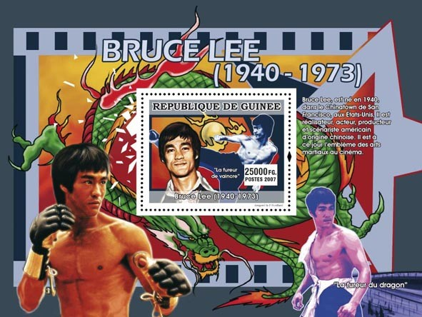 Bruce Lee s/s - Issue of Guinée postage stamps