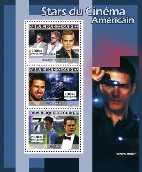 CINEMA: American Stars Males 3v - Issue of Guinée postage stamps