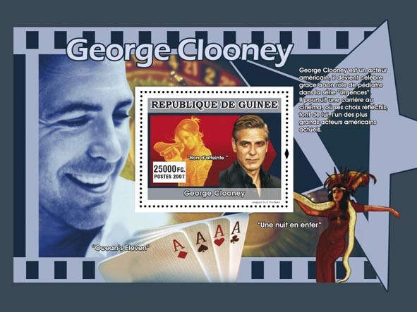 George Clooney s/s - Issue of Guinée postage stamps
