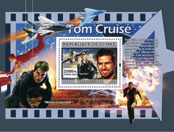 Tom Cruise, millitary aircraft s/s - Issue of Guinée postage stamps