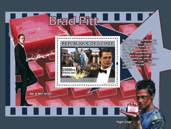 Brad Pitt s/s - Issue of Guinée postage stamps