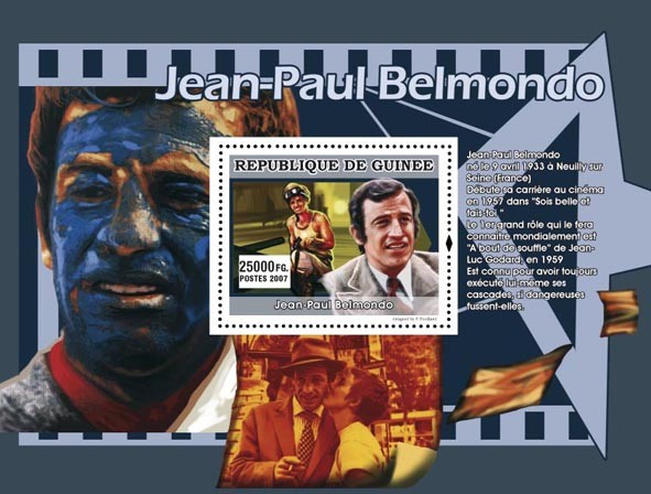 Jean-Paul Belmondo s/s - Issue of Guinée postage stamps