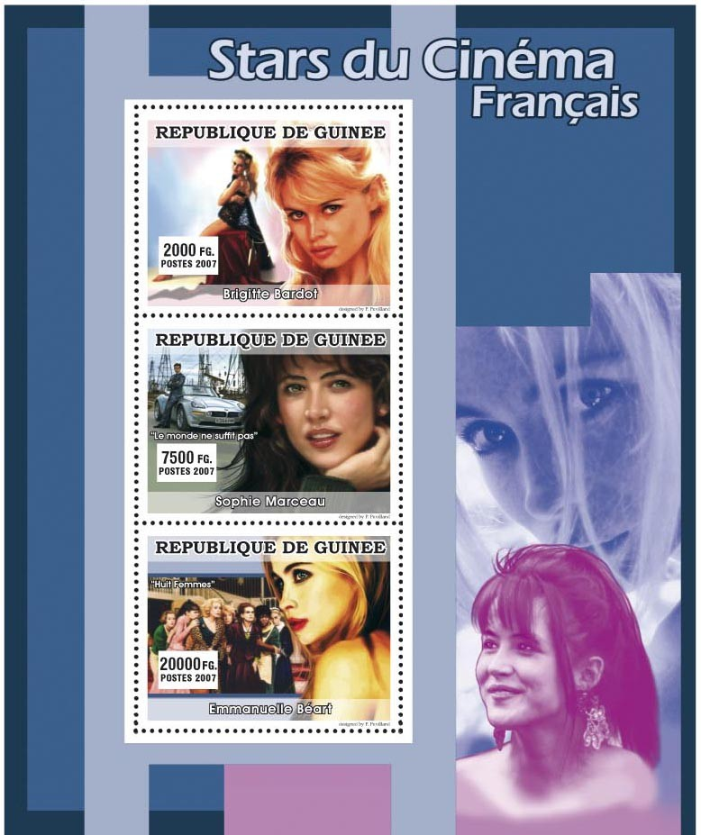 CINEMA: French Stars Females 3v - Issue of Guinée postage stamps
