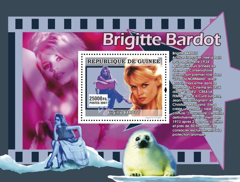 Brigitte Bardot, the animals protection - Issue of Guinée postage stamps