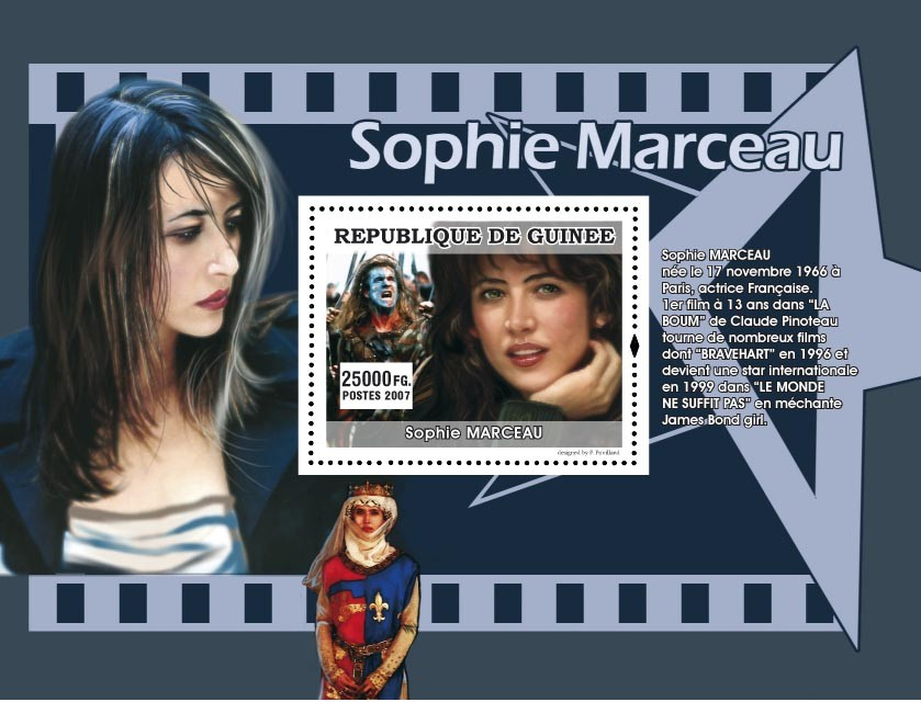 Sophie Marceau - Issue of Guinée postage stamps