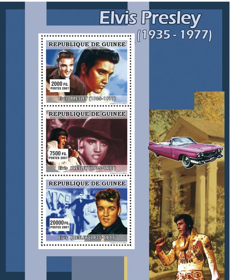 MUSIC: Elvis Presley 3v - Issue of Guinée postage stamps
