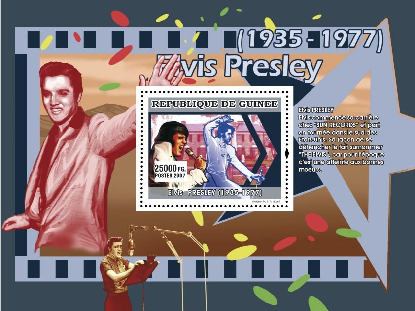 Elvis commence sa carri?�re chez  SUN RECORDS ... - Issue of Guinée postage stamps