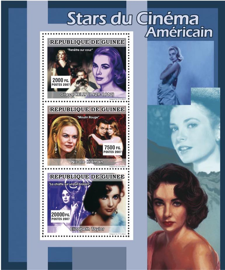 CINEMA: American Stars Females 3v - Issue of Guinée postage stamps