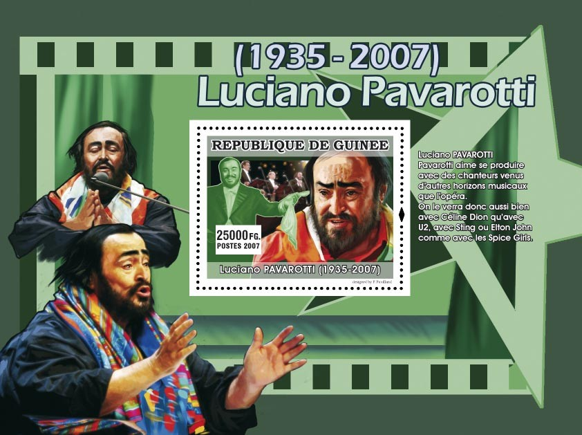 Pavarotti aime se produire ... - Issue of Guinée postage stamps