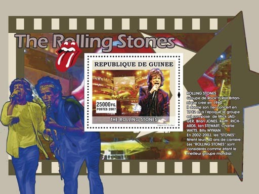 The Rolling Stones - Issue of Guinée postage stamps