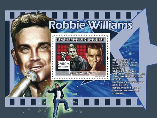 Robbie Williams - Issue of Guinée postage stamps