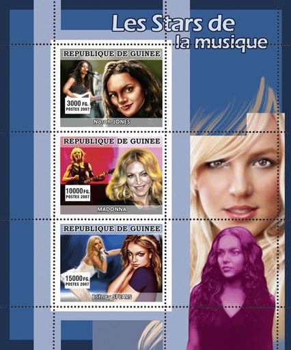 MUSIC: Stars Females - Issue of Guinée postage stamps