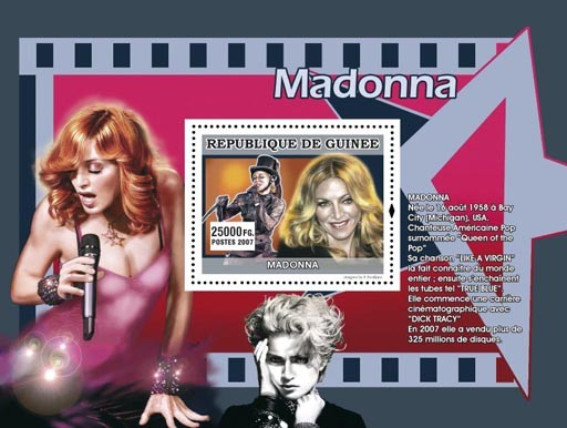 Madonna - Issue of Guinée postage stamps