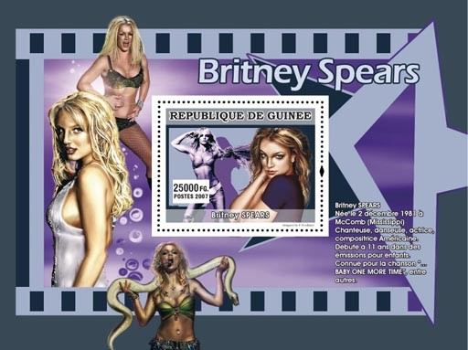 Britney Spears - Issue of Guinée postage stamps