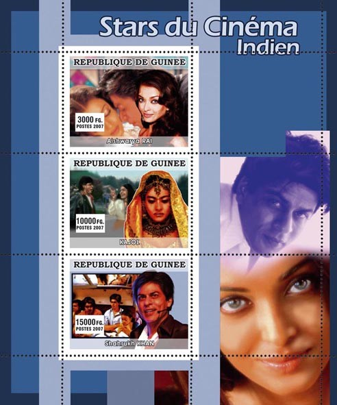CINEMA: Indian Stars - Issue of Guinée postage stamps