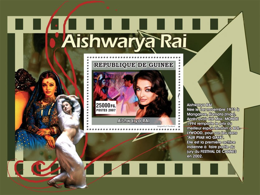 Aishwarya RAI - Issue of Guinée postage stamps