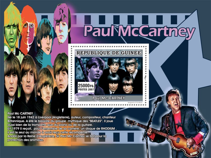 Paul McCartney - Issue of Guinée postage stamps