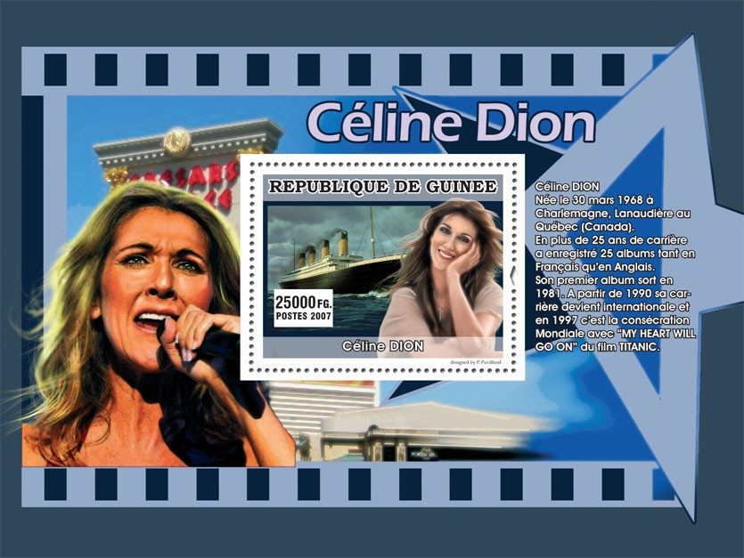 Celine Dion - Issue of Guinée postage stamps