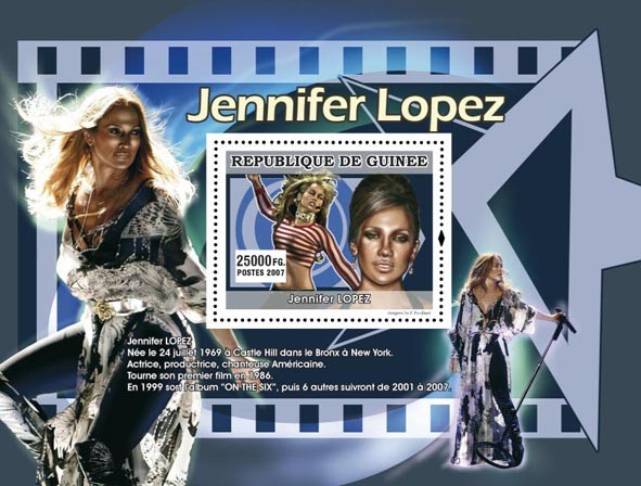 Jennifer Lopez - Issue of Guinée postage stamps