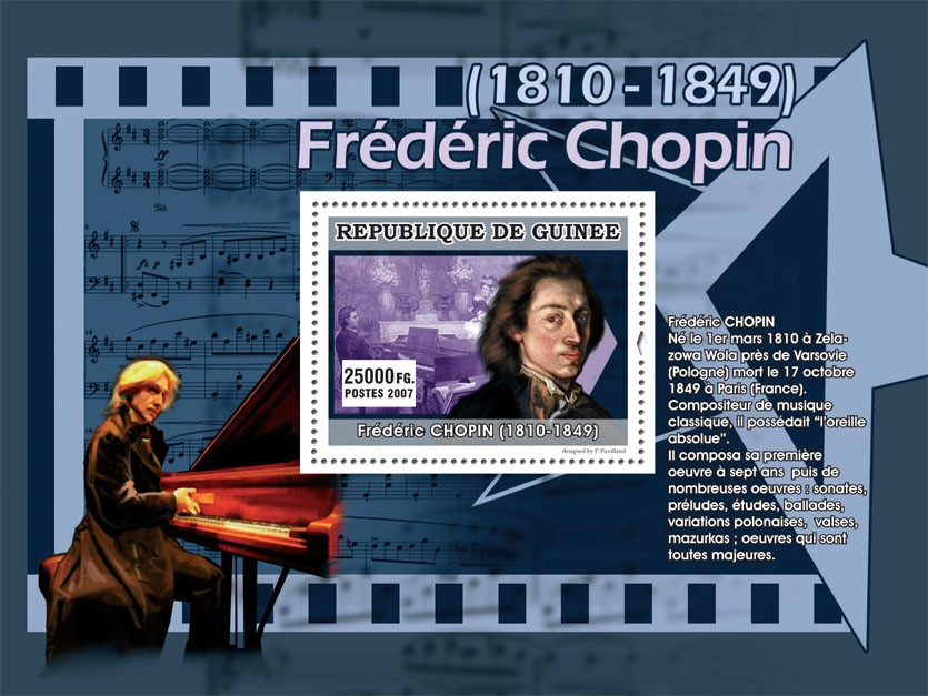 Frederic Chopin - Issue of Guinée postage stamps