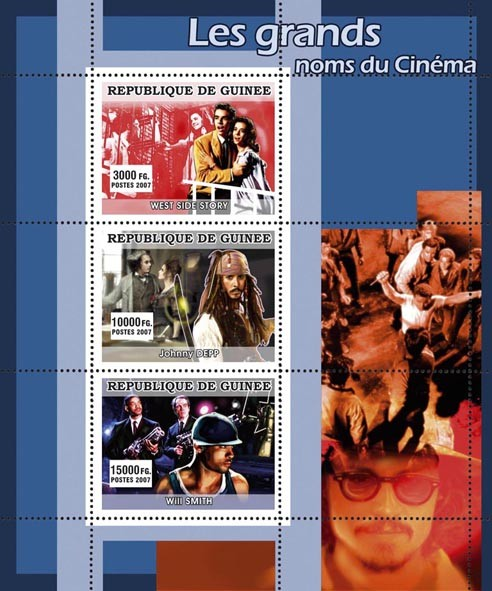 CINEMA: Big Names - Issue of Guinée postage stamps