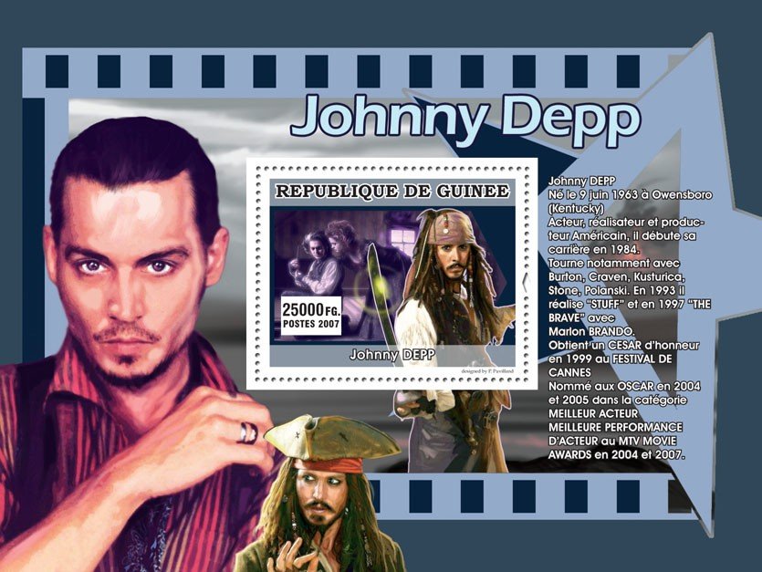 Johnny Depp - Issue of Guinée postage stamps