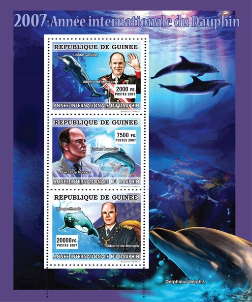 CELEBRITIES - International Dolphin Year 2007 - Issue of Guinée postage stamps