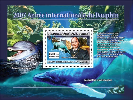 Inia geoffrensis / Albert II de Monaco - Issue of Guinée postage stamps