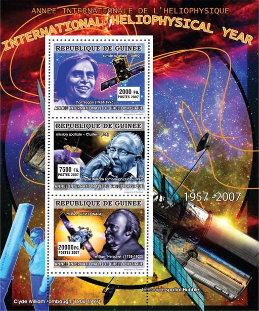 CELEBRITIES - International Heliophysical Year 2007 - Issue of Guinée postage stamps