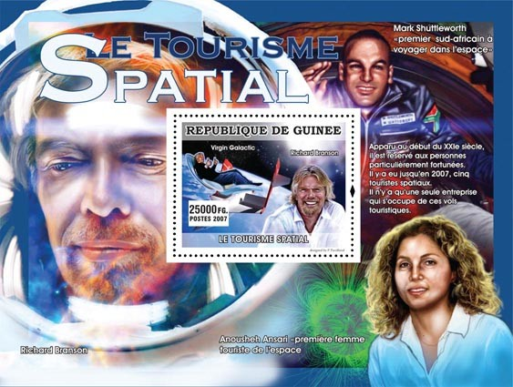 Richard Branson - Issue of Guinée postage stamps