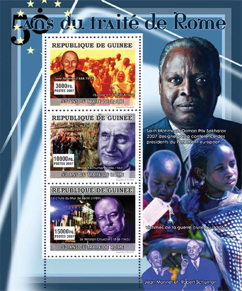 CELEBRITIES - 50 Years of Rome Treaty - Issue of Guinée postage stamps