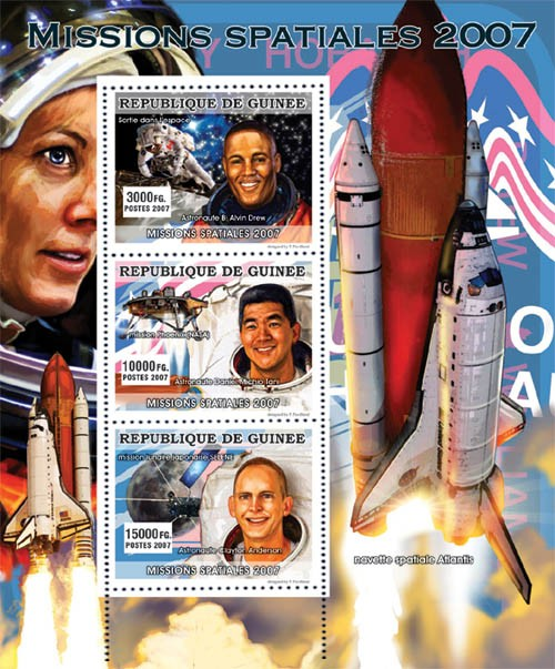 CELEBRITIES - Space Missions  2007 - Issue of Guinée postage stamps