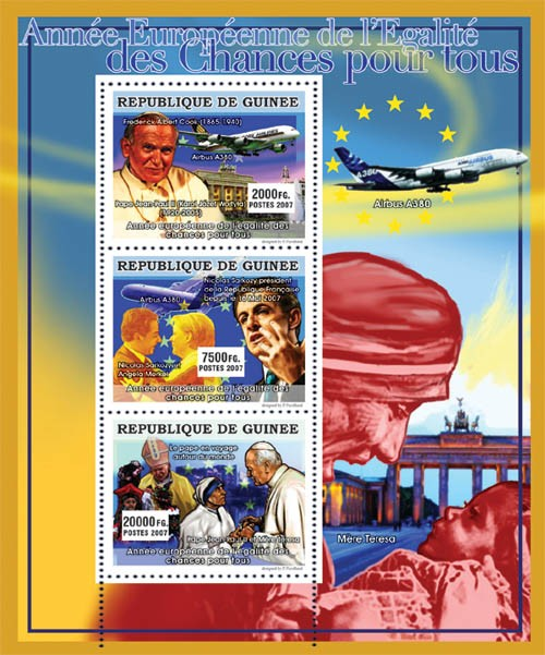 CELEBRITIES - Year of Europe Equality - Issue of Guinée postage stamps