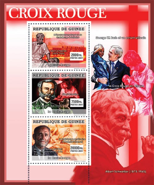 CELEBRITIES - Red Cross - Issue of Guinée postage stamps