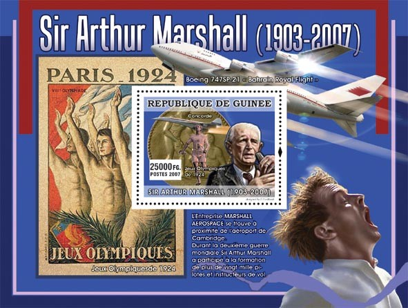 Sir Arthur Marshal ( Concorde, Boeing 747 SP - 21 ) - Issue of Guinée postage stamps