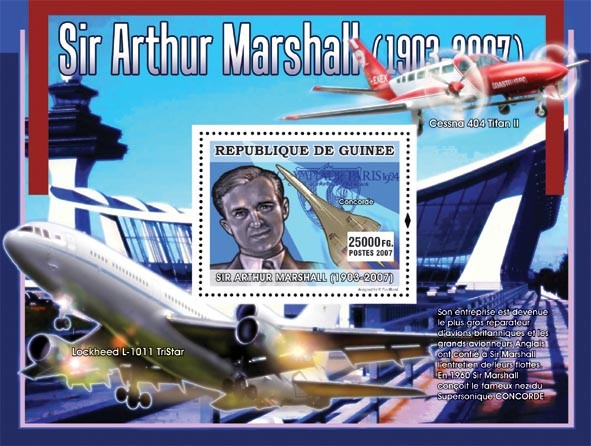 Sir Arthur Marshal ( Concorde, Cessna 404 Titan II) - Issue of Guinée postage stamps