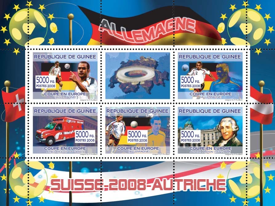 German football players, Swiss ambulance of Geneva, Austrian composer Joseph Haydn - Issue of Guinée postage stamps