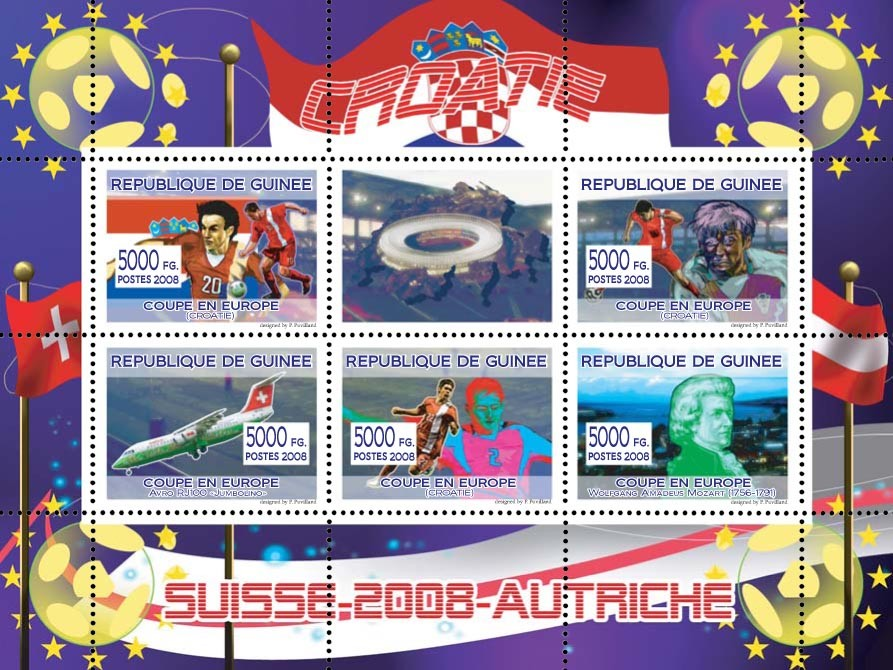 "Croatian football players, ""Swiss Air"" aircraft, Austrian composer W.A. Mozart - Issue of Guinée postage stamps"