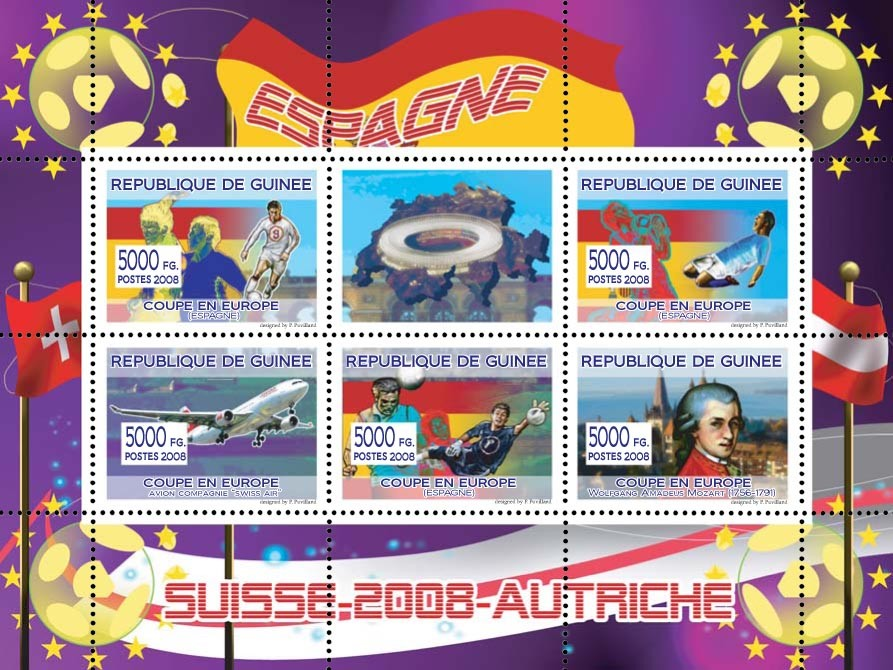 "Spanish football players, ""Swiss Air"" aircraft, Austrian composer W.A. Mozart - Issue of Guinée postage stamps"