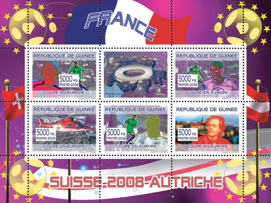 French football players, Swiss helicopter, Austrian composer Gustav Mahler - Issue of Guinée postage stamps