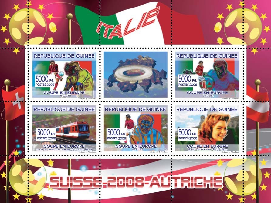 Italian football players, Swiss train, Austrian actress Romy Schneider - Issue of Guinée postage stamps