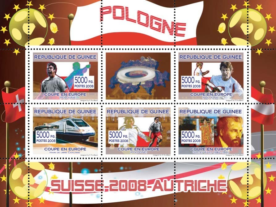 Polish football players, Swiss train, Austrian painter Gustav Klimt - Issue of Guinée postage stamps