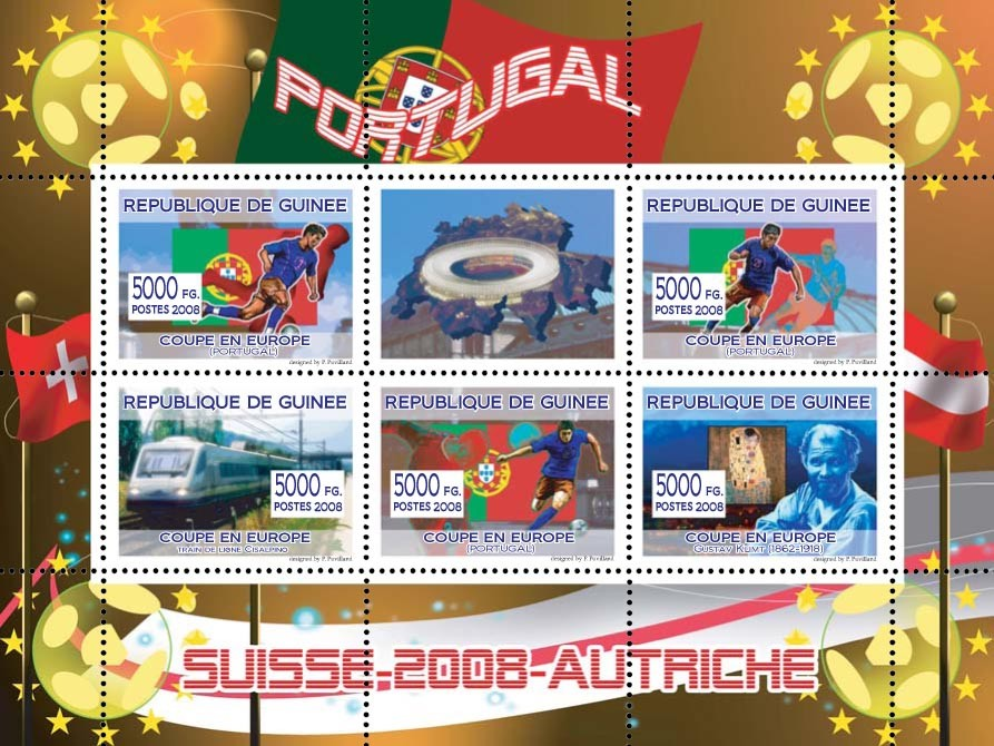 Portugal football players, Swiss train, Austrian painter Gustav Klimt - Issue of Guinée postage stamps