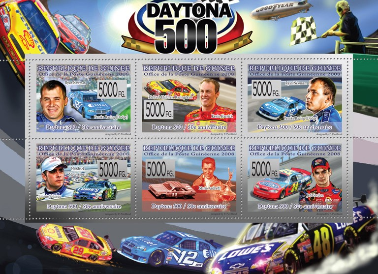 Transport  -  Daytona 500 ?タᆵ  ( Rally Cars & Pilots ) - Issue of Guinée postage stamps