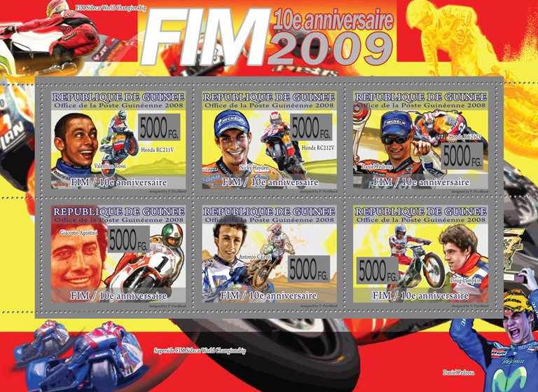Transport  -  10th Anniversary of FIM  ( Motorbikes & Pilots ) - Issue of Guinée postage stamps