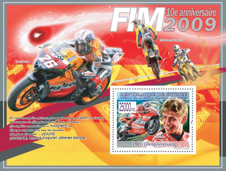 Casey Stoner, Ducati GP8 - Issue of Guinée postage stamps