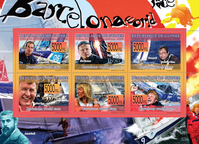 Transport  Barcelona World Race ( Sports Ships ) - Issue of Guinée postage stamps