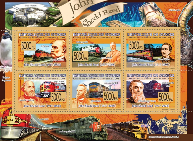 Transport  Trains & John Shedd Reed ( 1917-2008) - Issue of Guinée postage stamps