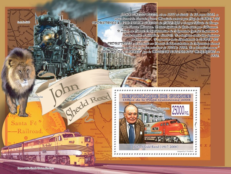 John Shedd Reed ( 1917-2008 ), train Santa Fe 300 C - Issue of Guinée postage stamps